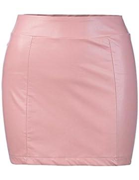 Faldas, Challeng Mujeres Sexy vendaje cuero cintura alta lápiz Bodycon Hip corto Mini falda (m, rosa)