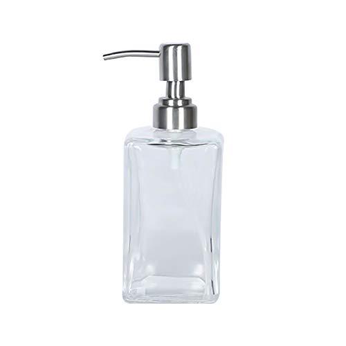 GBSIER Seifenspender Glas - wiederbefüllbarer Pumpseifenspender,Pumpe aus Edelstahl,für Flüssigseife,Spülmittel,Handdesinfektionsmittel und Lotion,Clear,500ml (Schäumende Flüssigseife Pumpe)