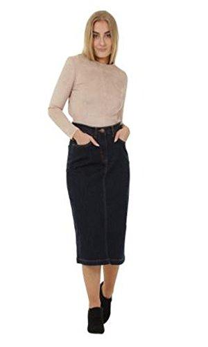 G8 One Calf-Length Denim Skirt Denim Midi Skirt UK Sizes 8-22