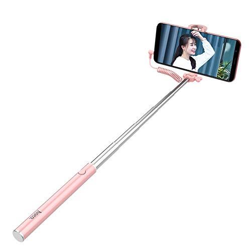Bastone Selfie Mini Linea Di Controllo Comodo Selfie Stick Adatto Per Smartphone- Rosa