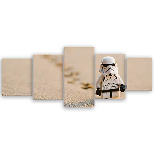 ge Bildet® hochwertiges Leinwandbild XXL - Stormtrooper IV walking - 200 x 80 cm mehrteilig (5 teilig) 3056