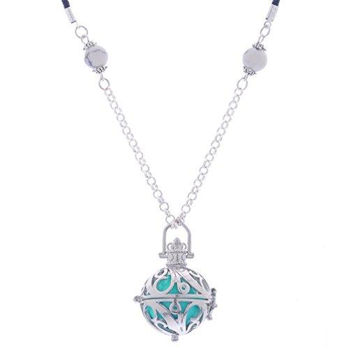 MJARTORIA Damen Halskette 75 cm mit Ornament Anhänger und Klangkugel 16 mm -gut für ungeborenes Baby Teal