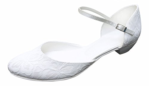 YES Brautschuhe Hochzeitsschuhe Schuhe Riemchen-Pumps Hochzeit mit Spitze überzogen, Modell 281 Spitze, Gr. 38, Weiß