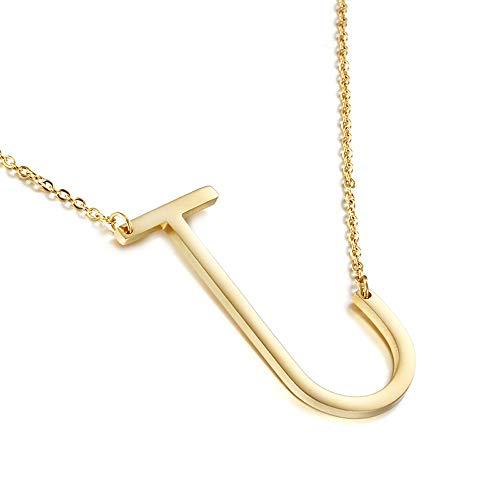 WANGLXTC Mode Titan Stahl Halskette, Schlüsselbein Brief Halskette 26 Englische Buchstaben Titan Stahl Kleid Halskette Edelstahl Mutter Geschenkartikel Exquisit, J