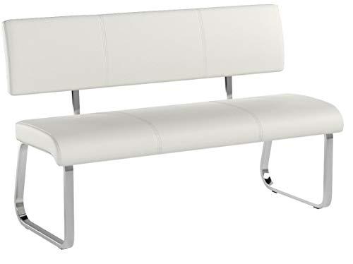 IDIMEX Banc Design Vilas siège avec 3 Places, Banquette au piètement chromé et Dossier au revêtement synthétique Blanc