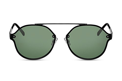 Cheapass Sonnenbrille Rund Grün Flach-e Gläser Flat UV-400 Designer-Brille Metall Damen Herren