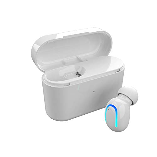 Wireless Sport Bluetooth Earbud,1 Pcs Mini Noise Cancelling In Ear Earphone with Microphone Car Bluetooth Headset Hands Free Earpiece with Portable Charging Case for Running iPhone Samsung LG White