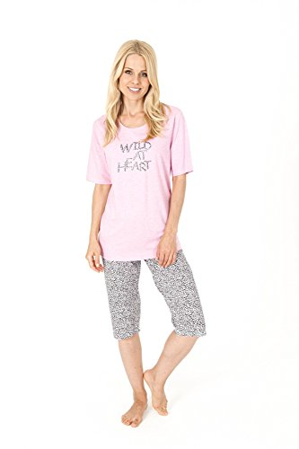 Leopard Capri-pyjama (Damen Capri Pyjama in wunderschönen Leo-Muster - 58628, Größe:44/46;Farbe:rose)