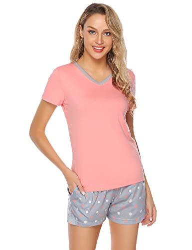 Hawiton Damen Pyjama Schlafanzug Kurz Sommer Zweiteilige Nachtwäsche Hausanzug Sleepwear Kurzarm V Ausschnitt Rot S