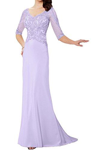 La_Marie Braut Blau Spitze Elegant v-ausschnitt Abendkleider Ballkleider Chiffon Brautmutterkleider Bodenlang Lilac