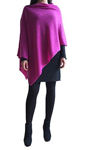 SEMON Kaschmir Multiwear Lacy Poncho leichte Qualität reine Kaschmir in Pink, Alternative zu einem Strickwaren wickeln Pulli Strick-Pullover Cardigan Kap - 100% Mongolische Cashmere