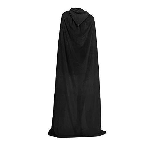 iiniim Largo Capa con Capucha Terciopelo Disfraz de Halloween Fiesta Disfraces para Mujeres Hombres Adulto Magic Cape Cosplay Costume Negro XL