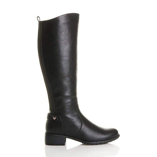 Femmes mi talon élastique hauteur du genou mollet bottes d'équitation pointure Noir