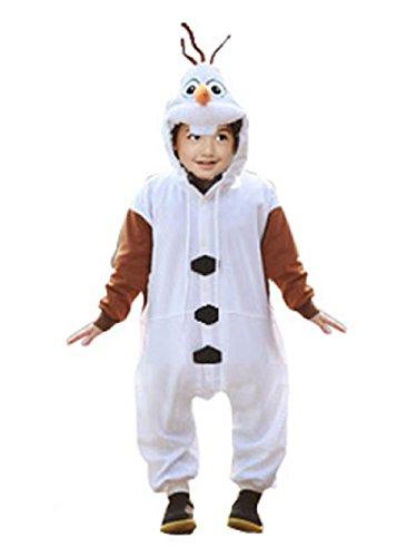 (Canberries Fasching Kostüm Kinder Cosplay Onesie Jumpsuits Anime Kostüm Pyjama Overall Hausanzug (Kinder 120 für Hohe 110-119cm, Olaf))