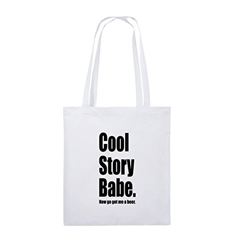 Comedy Bags - Cool Story Babe now get me a beer - Jutebeutel - lange Henkel - 38x42cm - Farbe: Schwarz / Pink Weiss / Schwarz