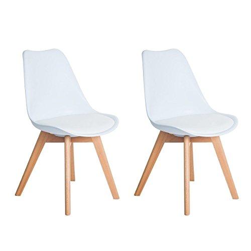 DORAFAIR sillas escandinava Estilo nórdico Silla de Comedor, con Las piernas de Madera de Haya Maciza y cojín cómoda,Blanco/Negro / Gris