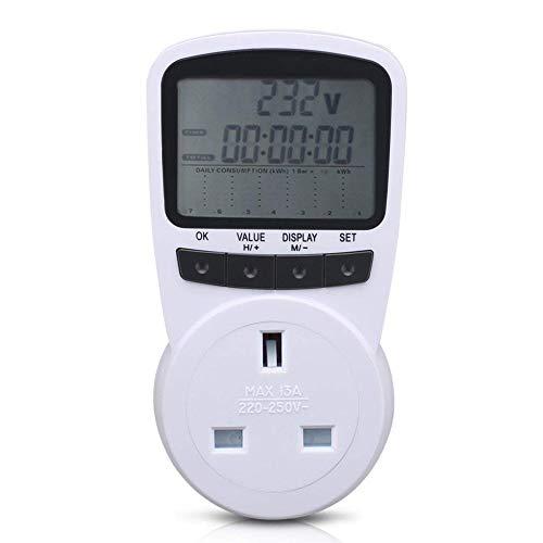 Stromzähler / Stromverbrauchsmesser mit digitalem LCD-Display für Stromverbrauch, Kostenzähler, Watt, Stromverbrauchsmesser, Stromverbrauch, (AC 110 V ~ 270 V, 13 A max. UK-Stecker) -