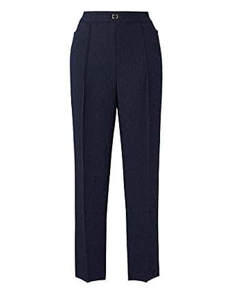 JD Williams Womens Textured Herringbone Pull On Trouser Dark Blue, 16