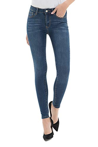 Damen Jeanshose Skinny, Damen Stretch Jeans Hose mit mittlerem Bund, Slim Fit Röhrenjeans, 31W / 29L, Blau-la0004