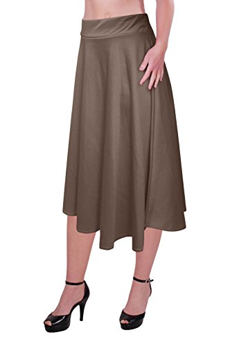 Aux Femmes Plus Taille Élastique Taille Dames Le Genou Longueur Plaine Patineur Évasé Jupe Tailles Brun