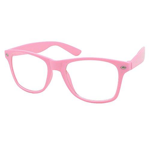 Mode Spaß Unisex Klare Linse Nerd Geek Gläser Brille (Rosa)