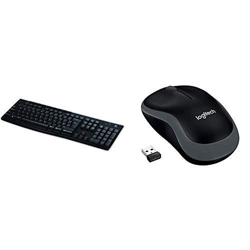 Logitech Wireless Keyboard K270 - UK layout & M185 Wireless Mouse USB for  PC Windows, Mac and Linux, Grey with Ambidextrous Design
