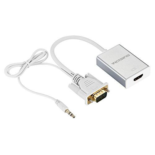 Conversor VGA a HDMI de VicTsing, adaptador vga hdmi convertidor cable con audio y USB para TV, portátil,Smart TV Box Portátil, Resolución de 720P /1080P