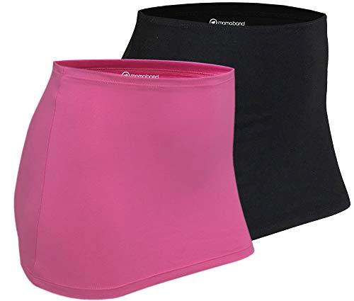 Mamaband Nierenwärmer DOPPELPACK zum Warmhalten des Nieren- und Hüftbereichs & für die Schwangerschaft - Elastischer Hüftwärmer und Shirtverlängerung in drei Größen (Pink/Schwarz, 32-38)