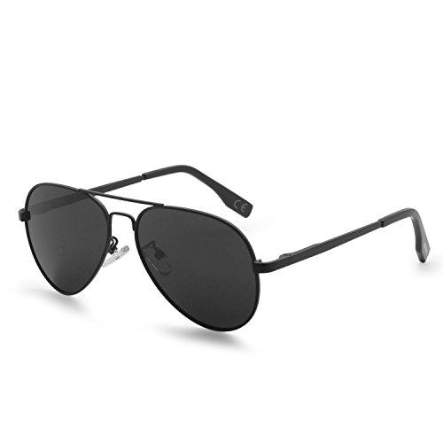 AMZTM Klassisch Polarisiert Pilotenbrille Für Kinder Metallrahmen Verspiegelt REVO Linse Sonnenbrillen (Schwarz Grau, 52) (Kleinkind Junge Pilot Kostüm)