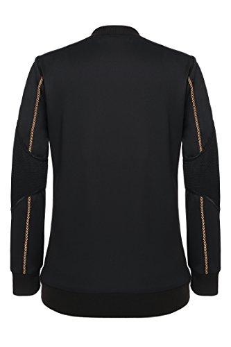 ZEARO Damen Bomberjacke Mantel beiläufiger O-Ausschnitt langer Hülsen Druck Patchwork Tops Outerwear Schwarz