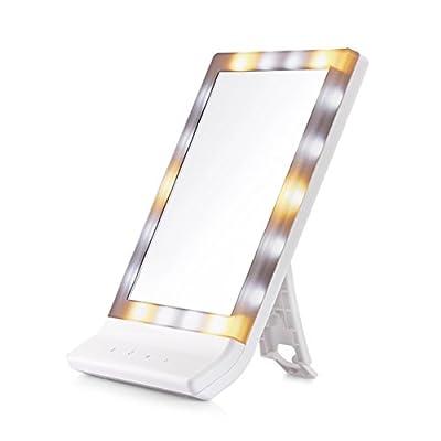 LEDSpiegel/ Desktop-Spiegel/Quadrat falten tragbare Prinzessin Spiegel/ gro?e Kosmetikspiegel/Beleuchtete Kosmetikspiegel