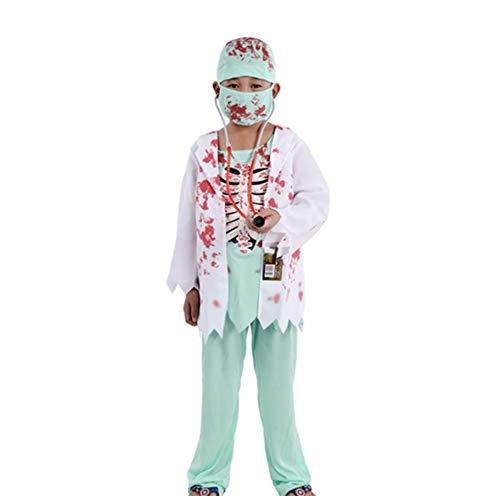 Jungen Kostüm Jester - Yw-Cosplay Halloween Kinder Zombie Doktor Kostüm, Jungen Mädchen Blutfleckiger Toter Zombie Chirurg mit Maske & Stethoskop Gruseliges Halloween Doktor Kostüm,L