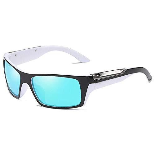 Pouch & Cross Set Unisex Bicycle Drive Laufen Angeln Klettern Sonnenbrillen Polarized Lens Wellington Sonnenbrille Sonnenbrillen und flacher Spiegel ( Color : Blue+White , Size : Kostenlos )