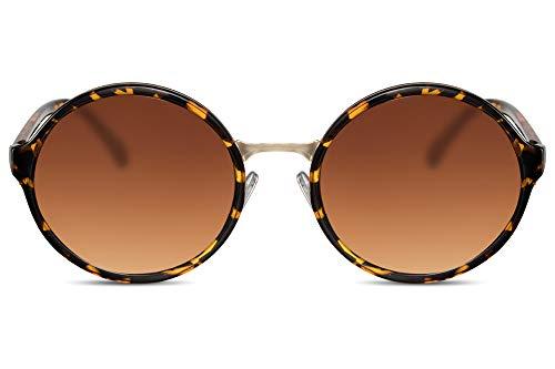 Cheapass Sonnenbrille Runde Gläser Braun Leopard Animal Print Retro Damen