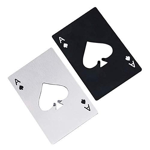 2 Stück Bier Flaschenöffner Edelstahl Kreative Tragbare Kreditkarte Größe Poker Shaped Silber und Schwarz für Ihre Geldbörse (Mini Bulk Strümpfe)