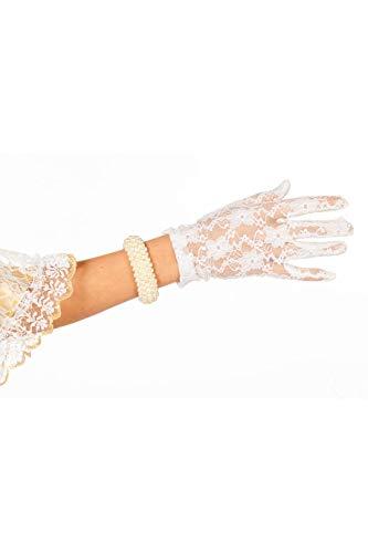 Jannes 52010 Elegante Spitzen-Handschuhe für Damen viktoriansch Barock Einheitsgröße Weiß (Weiße Spitzen Handschuhe)