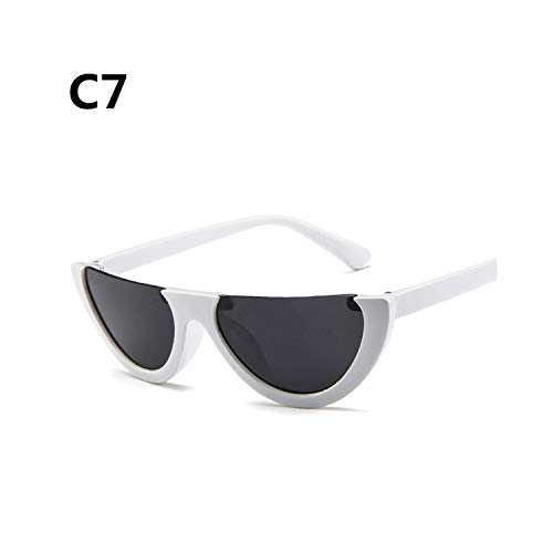 Sportbrillen, Angeln Golfbrille,Cool Trendy Half Frame Rimless Cateye Sunglasses Women NEW Fashion Clear Brand Designer Sun Glasses For Female Oculos De Sol C7