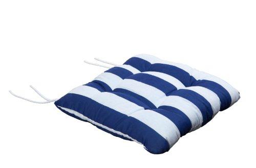 Stuhlkissen Bindebänder Blockstreifen blau weiß