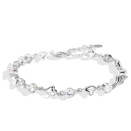 LULALULA Kim Hongyu S925 Sterling Silber Crystal Bracelet Female Koreanische Version Einfache Liebe Setzt Diamant-Persönlichkeit Sen Department Student Boudoir Gift -