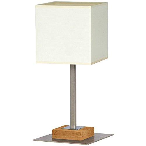 Elegante Tischleuchte in Buche Beige Bauhaus Design 1x E27 bis zu 60 Watt 230V aus gewebten Stoff & Metall Nachttischlampe Schlafzimmer Wohnzimmer Lampen Leuchte innen Beleuchtung