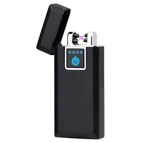 LAZU Elektronisches Feuerzeug Aufladbar, Lighter Dopple Lichtbogen Feuerzeug USB Elektro Winddichte Flammenlose Plasma Feuerzeug (Shwarz Glace)