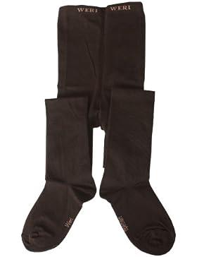 Weri Spezials Feingestrickte Kinderstrumpfhose in Glatt, Farbe:Schoko