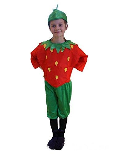 AN36 Gr. 116-122 Erdbeerenkostüm, Erdbeere Faschingskostüme, Erdbeerenkarnevalskostüm, für Kinder, Jungen, Mädchen, für Fasching Karneval Fasnacht, auch als Geschenk zum Geburtstag oder Weihnachten