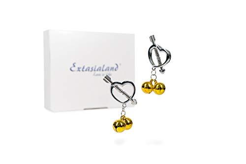 Extasialand zwei sexy Nippel-Klemme-n in Herzchen-Form mit Glöckchen - aufregender Nippelschmuck & BDSMs Nippelspanner Spielzeug für Brustwarzen für Unterwerfung