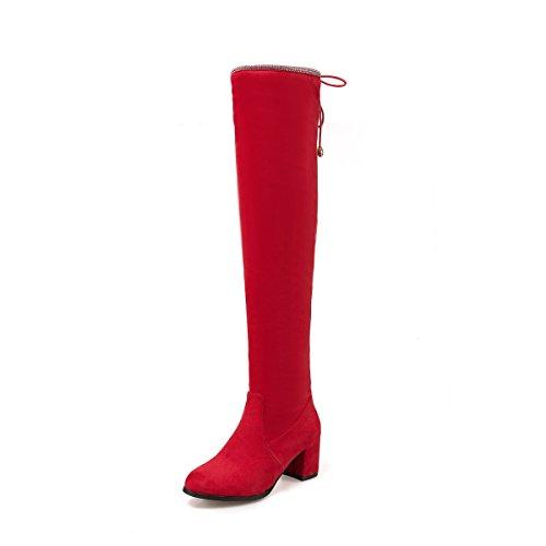 Mei & S Sandales À Talons Hauts Pour Femme Sur Les Genoux Chaussures Rouges
