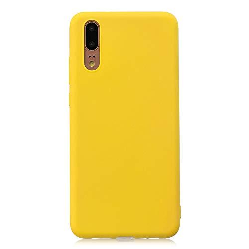 cuzz Custodia Huawei P20+{Film di Vetro temperato}Silicone TPU Cover Morbida Protettiva Custodia Ultra Sottile Leggero Cover-Giallo