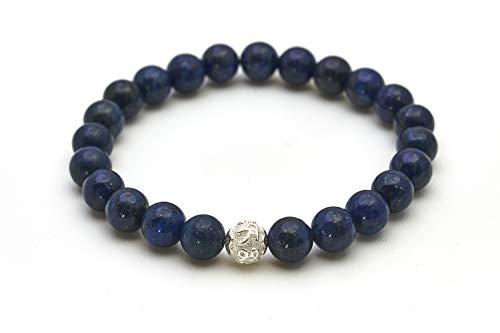 Lapislazuli Armband - Echtes Perlenarmband mit Naturstein und 925 Sterling Silberperle - BERGERLIN Feel Goods