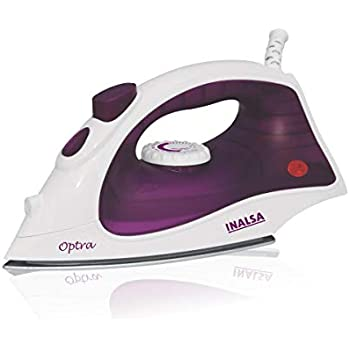 INALSA Steam Iron Optra-1200W with 18g/min Continuous Steam & Ceramic Coated Soleplate   Spray Function, 150ml Water-Tank Capacity, (White/Purple)