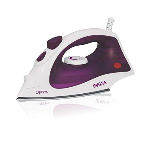 INALSA Steam Iron Optra-1200W with 18g/min Continuous Steam & Ceramic Coated Soleplate | Spray Function, 150ml Water-Tank Capacity, (White/Purple)