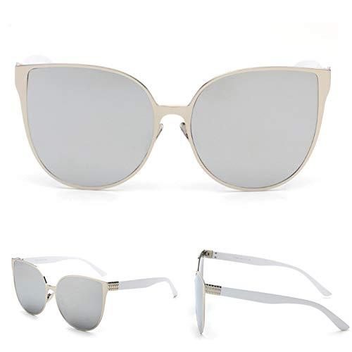 Z&HA Frauen Cat Eye Sonnenbrille, Übergroße Metallrahmen UV-Schutz UV400-Schutzbrille Mädchen Casual Party Sonnenbrille,01